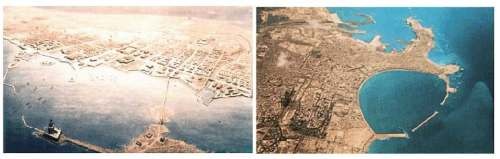 The Pharos island and the Pharos according to the Natural History Museum, New York and an image today (E. Bauer: Die sieben Weltwunder, p. 130) Alexandria from Space